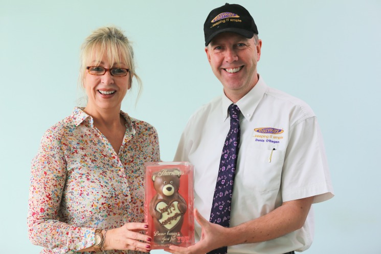 Lynne Stevenson - CALM Centre, Harlow receiving her chocolate bear