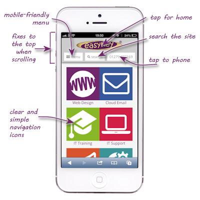 The easykey website on an iPhone5