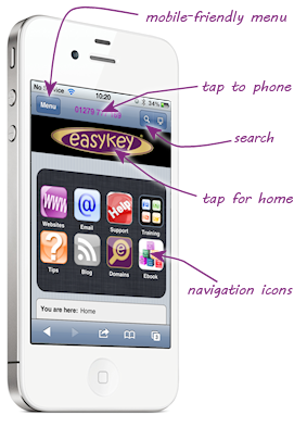 The easykey website on an iPhone