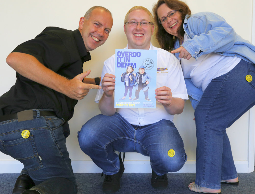 Denis, Barry and Sue wearing their Jeans for Genes