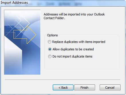 select how you want duplicates to be handled