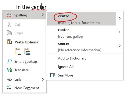 center spellcheck