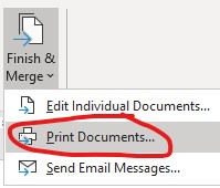 finish and merge Print Documents