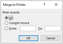 merge to printer