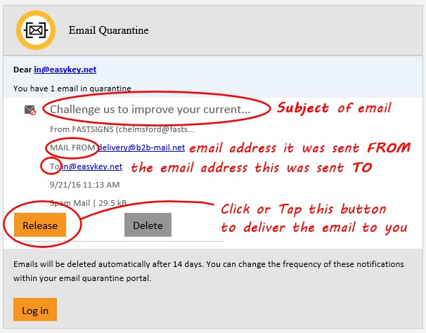 email quarantine with notes