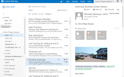 Outlook Web App - Screenshot