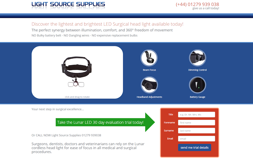 Lunar Head Lamp | the lightest and brightest LED Surgical head lamp | Light Source Supplies